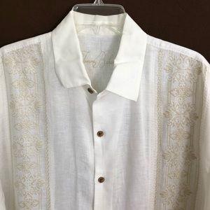 Tommy Bahama White Hawaiian Shirt XL 100% Linen